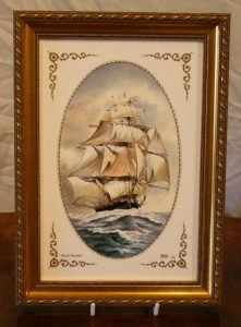Spode tile with a hand painted picture of a tall sailing ship