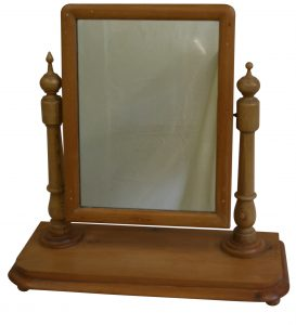 A Victorian pine dressing table mirror