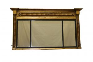 A late Regency gilt triple pained mirror