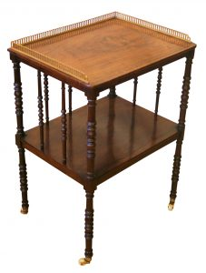 A Victorian rosewood two-tiered whatnot
