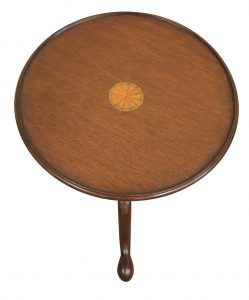A Georgian mahogany tray top tripod table with a marquetry fan set in the centre