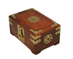 A large hardwood Hong Kong jewellery box