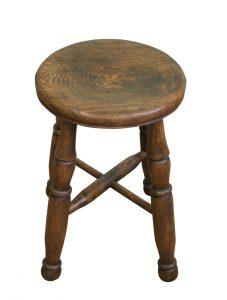 A round Ash Victorian farmhouse stool