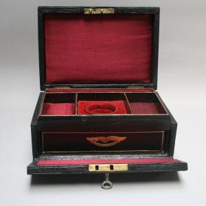 A black leather jewellery box